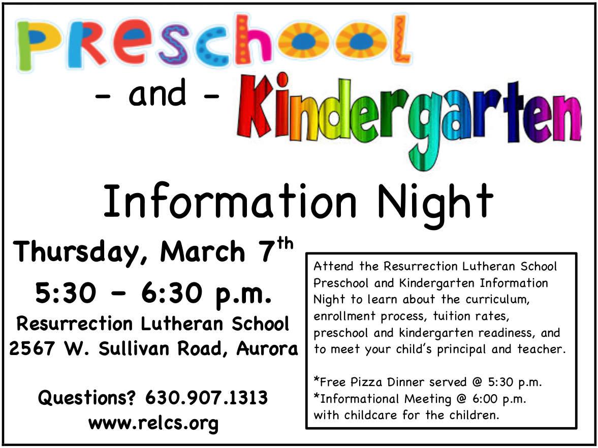 Preschool and Kindergarten Information Night – Resurrection Lutheran